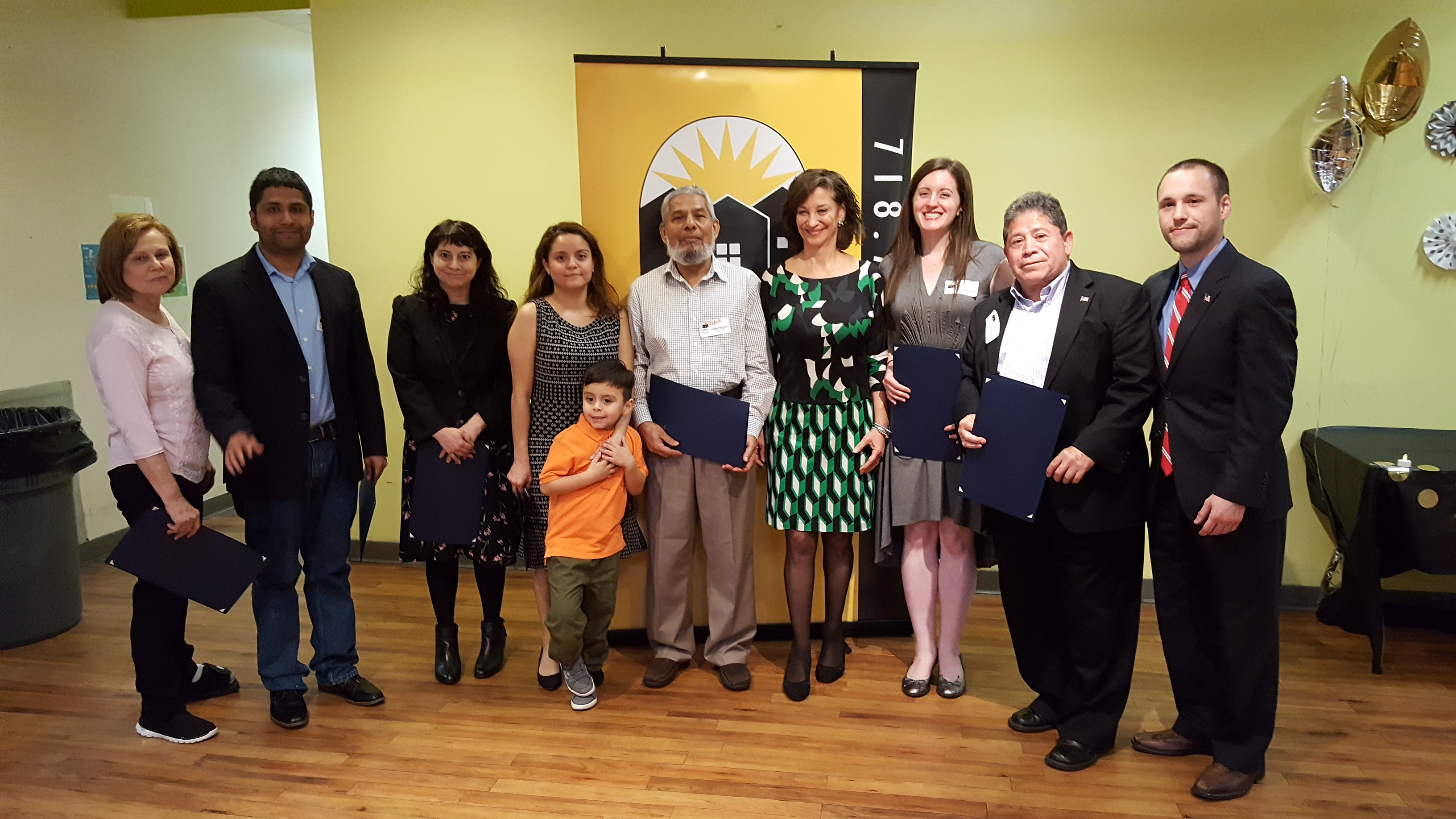Our Volunteers of the Year Award winners: Patricia Shubert, Francisco Mena, Jennifer Silverman, Shyvonne Noboa, Abdur Chowdhury, with SCS Executive Director Judy Zangwill, Emily Vertosick, Jairo Bernal, and Assemblyman Brian Barnwell.