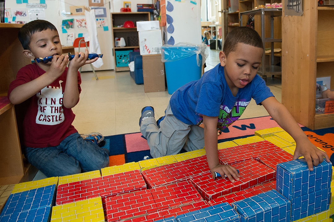 Sunnyside UP Pre-kindergarten attendees playing with blocks