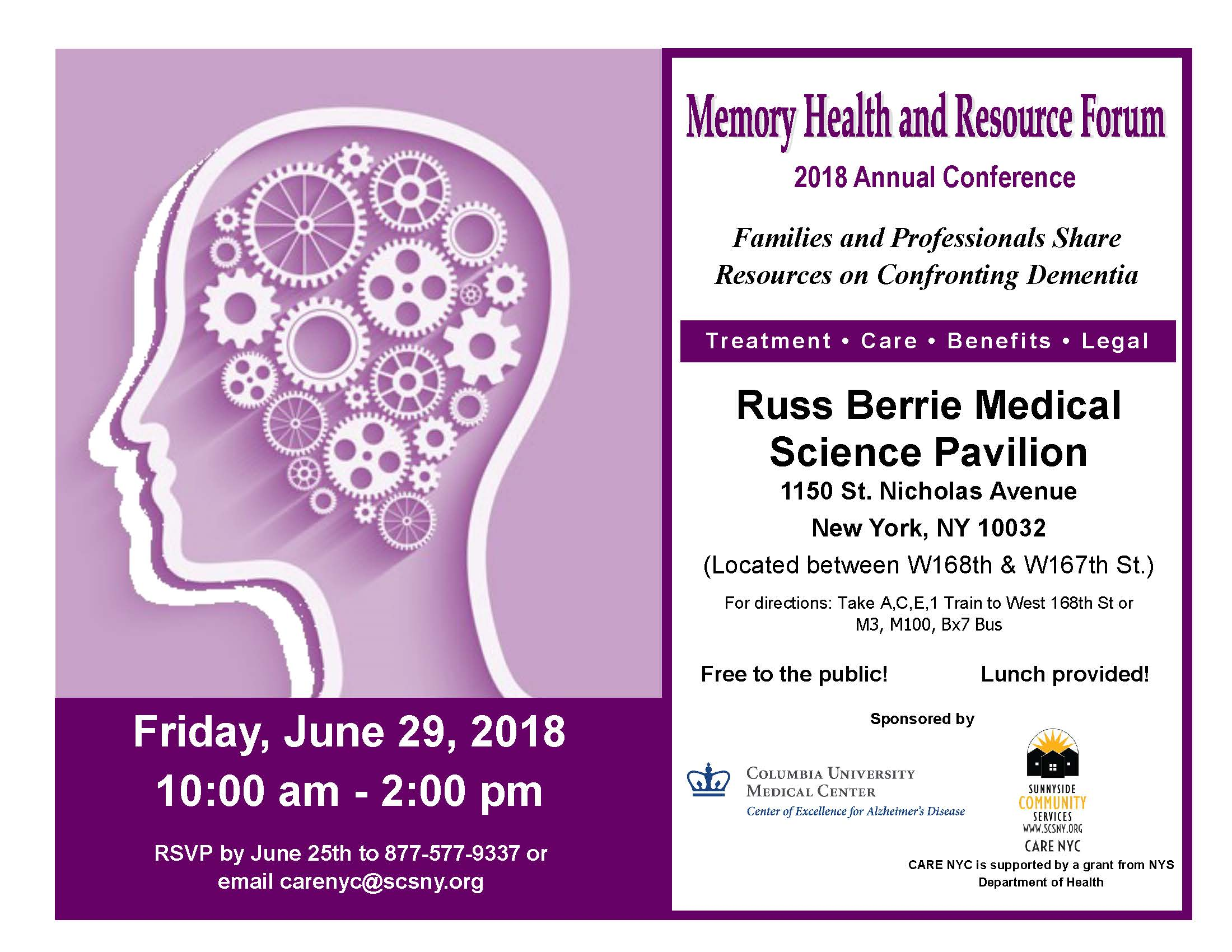 Memory Health and Resource Forum flyer