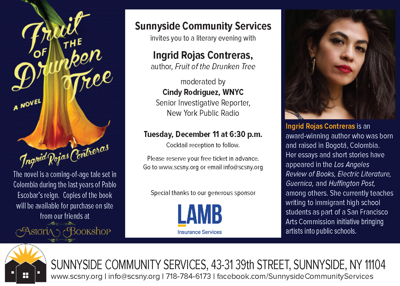 Literary Event with Ingrid Rojas Contreras, Author of Fruit of the Drunken Tree, on December 11, 2018