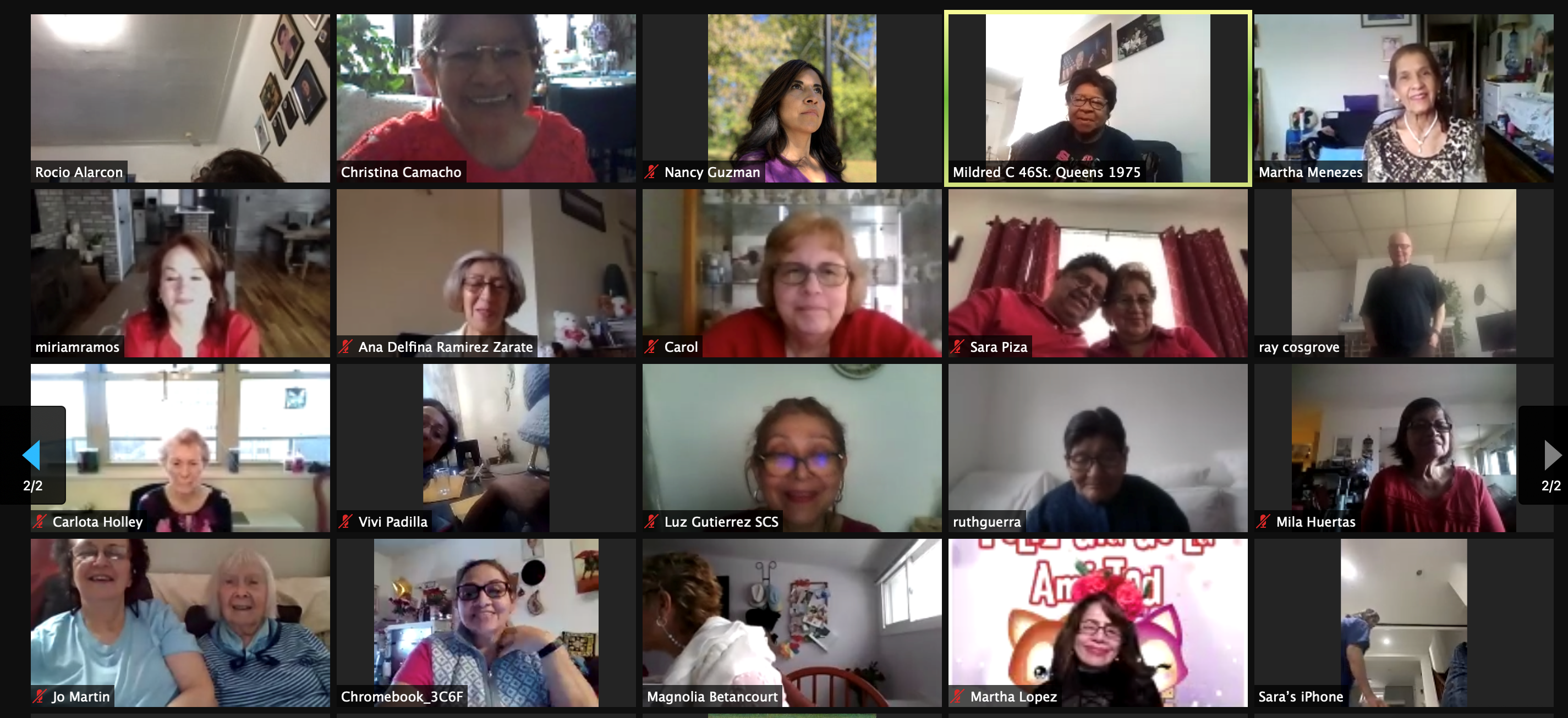 Zoom screen of participants at virtual Valentine's Day event