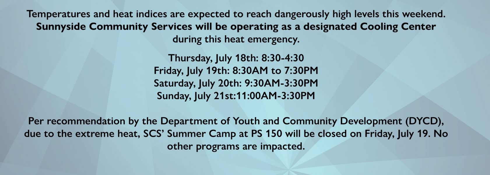 July 2019 Cooling Center hours