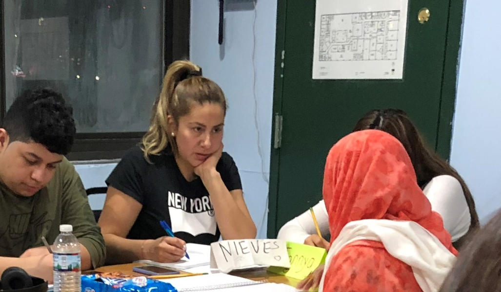 ESOL students work on an assignment