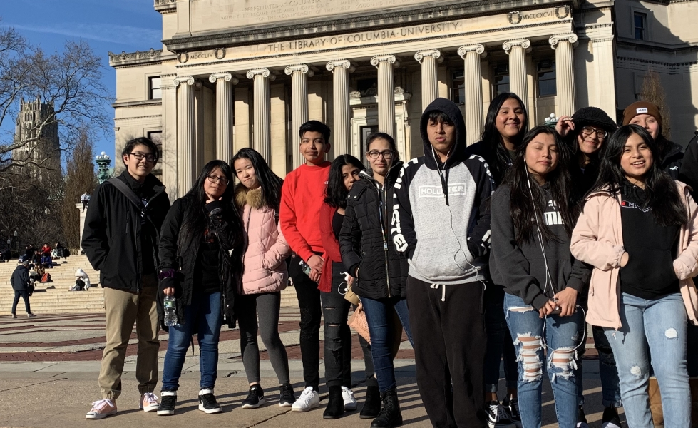 Students in the College Readiness program attend a trip to Columbia University including the library.