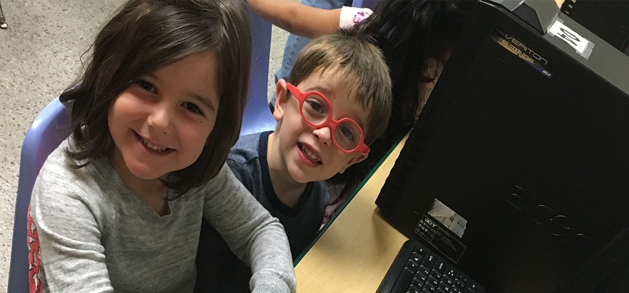 Sunnyside UP Pre-K students in the computer lab