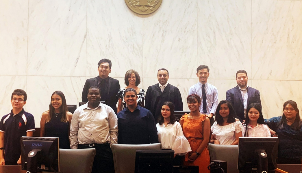 High school students visit a Brooklyn courtroom