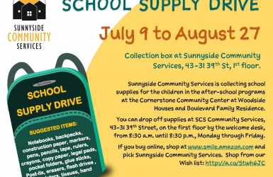 School Supply Drive through August 27 at Sunnyside Community Services