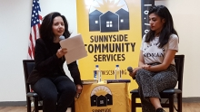 Moderator Cindy Rodriguez, NYPR reporter, with author Ingrid Rojas Contreras at SCS