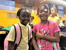 Student with backpack full of school supplies thanks to SCS' School Supply Drive