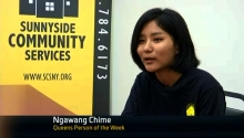 NY1 reporter Leisha Majtan talks to Ngawang Chime