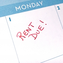 image of a calendar page with Rent Due noted
