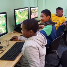 Cornerstone Community Center students in the computer lab