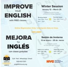 Flyer for ESOL Winter 2020-2021 Session