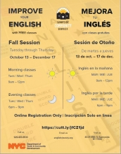 Flyer for ESOL Fall 2020 Session