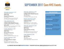 CARE NYC CALENDAR OF EVENTS AND ACTIVITIES SEPTEMBER 2017